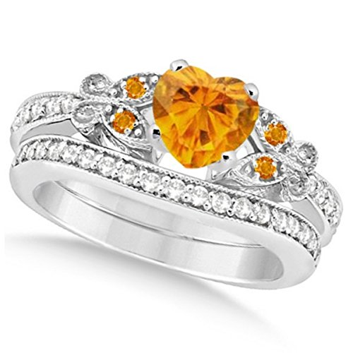 Preset Butterfly Citrine and Diamond Engagement Ring and Band Bridal Set 14k White Gold 1.95ctw