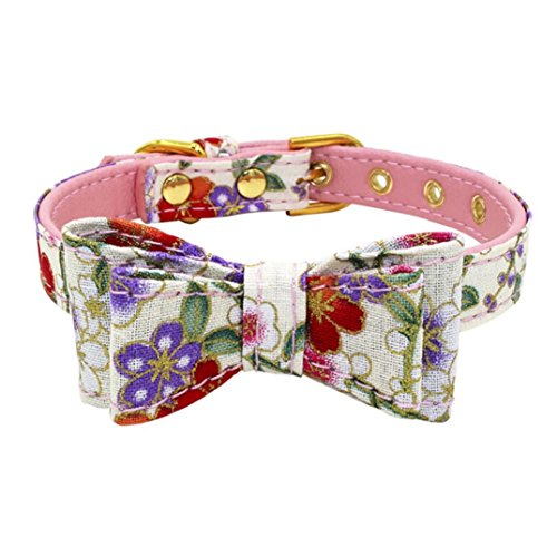 Sinfu Pet Dog Adjustable Printed Double Bowknot Collar Cat Puppy Necklace (XS, Pink)