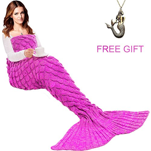 JR.WHITE Mermaid Tail Blanket for Kids and Adult,Hand Crochet Snuggle Mermaid,All Seasons Seatail Sleeping Bag Blanket by (Adult Size-Scale-Pink)