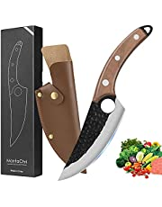 Chef Knife Kitchen Knives Meat Cleaver Knife Hand Forged Boning Knife with Sheath & Gift Box Butcher Knives, Fishing Filet & Bait Knifes Chopping Knife for Kitchen/Camping/BBQ/Meat Cutting/Deboning