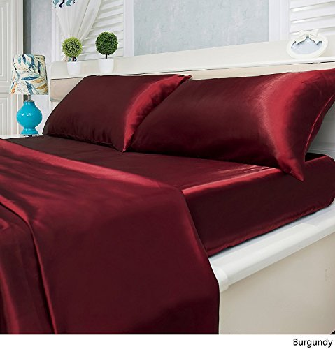 -Piece Satin Bed Sheets Set - Silky Smooth, Super Soft, Wrinkle Resistant Sheets and Pillowcases (Queen, Burgundy) ()
