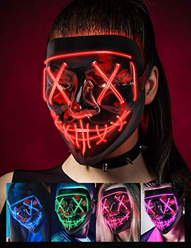 AnanBros Scary LED Halloween Mask, Light up Mask Cosplay, LED Rave Face Mask Costume 3 Lighting Modes, Halloween Face Masks for Men Women Kids – Red