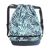 Beach Bag, Drawstring Swim Backpack Pool Bag for Gym Travel,Wet Dry Separated,Shoe Compartments Unisex Day Bag Review