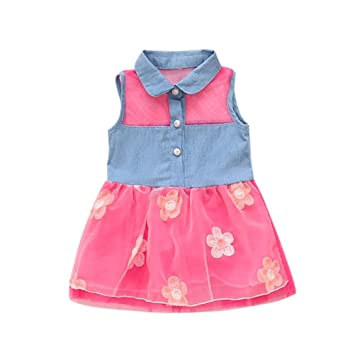 665430b2b592 Image Unavailable. Image not available for. Color  Feitong Princess Cute  Girls Denim Kids Sleeveless Tulle Tutu Dresses ...