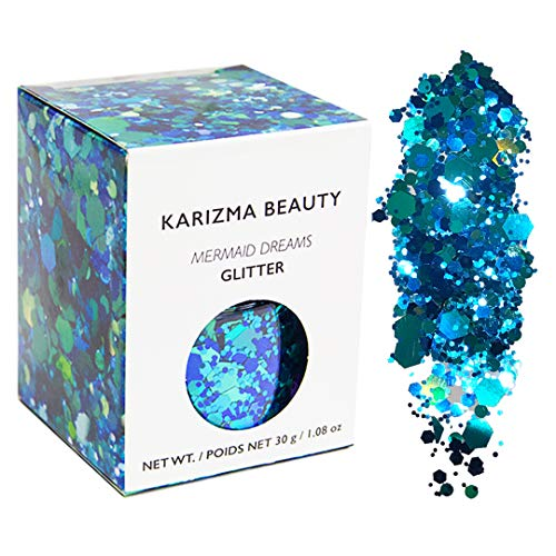 Mermaid Chunky Glitter ✮ Large 30g Jar KARIZMA BEAUTY ✮ Festival Glitter Cosmetic Face Body Hair Nails]()