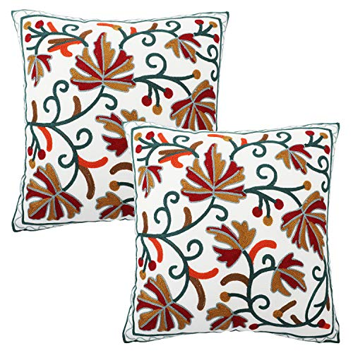 Lewondr Embroidery Throw Pillow Case, 2 Pack Square Bohemia Cotton Throw Pillow Cover Retro Indian Style Floral Leaves Decorative Sofa Cushion for Couch Car Bed Room Home 18 x 18 Inch ()