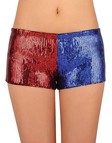 (HDE Women's Red and Blue Metallic Sequin Booty Shorts For Harley Misfit Halloween Costume (Red and Blue,)