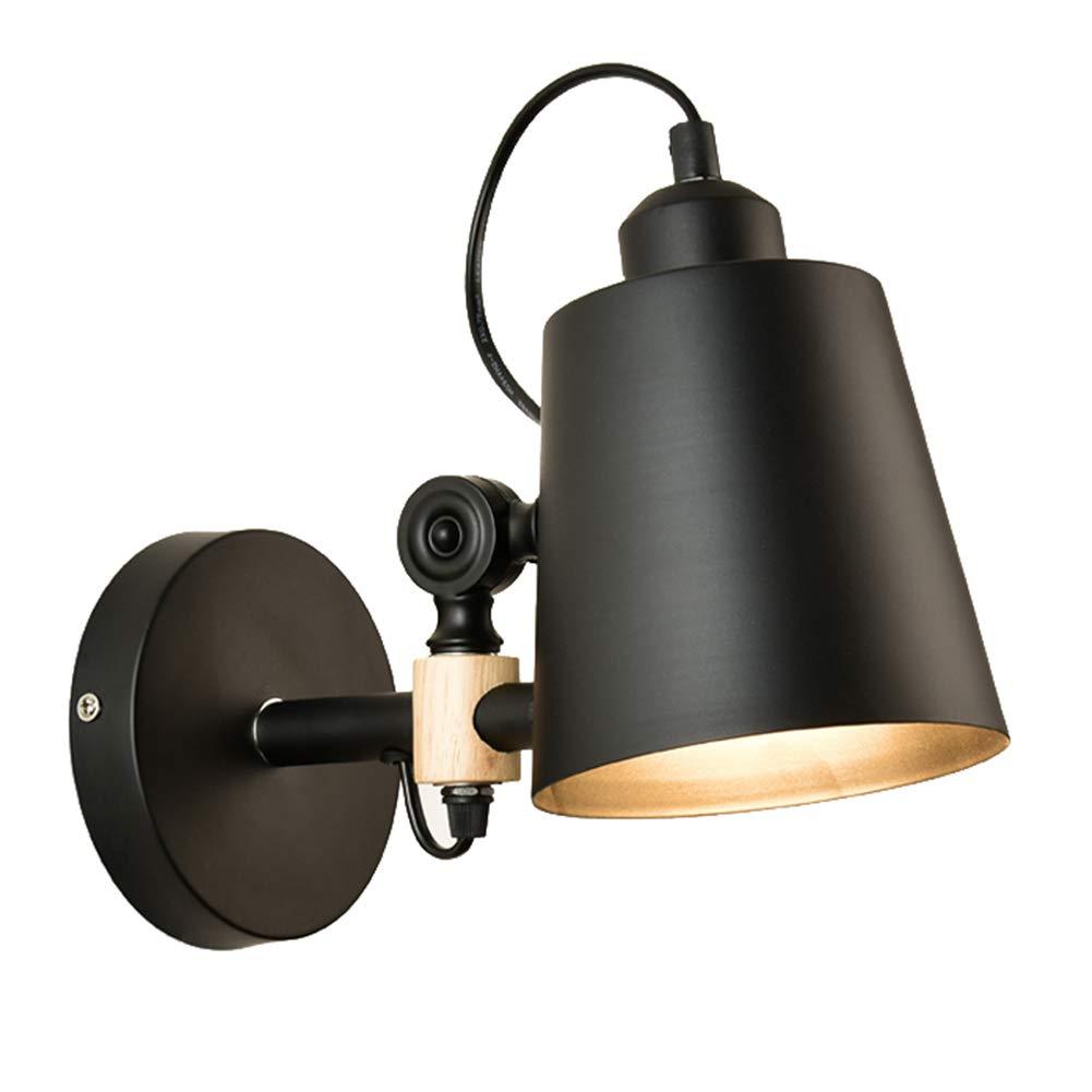 Wandleuchten Wandlampe Wandbeleuchtung Außenwandleuchten Mit Einstellbar Holz Nachttischlampe Gang Wandleuchte Schlafzimmer Wohnzimmer Wandleuchten ZHAOYONGLI (Farbe   SCHWARZ-23  15cm)