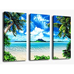 Canvas Wall Art Sea Beach Painting Prints on Canvas Framed and Ready to Hang - 3 Panels Summer Seascape Giclee Prints for Home and Office Decoration