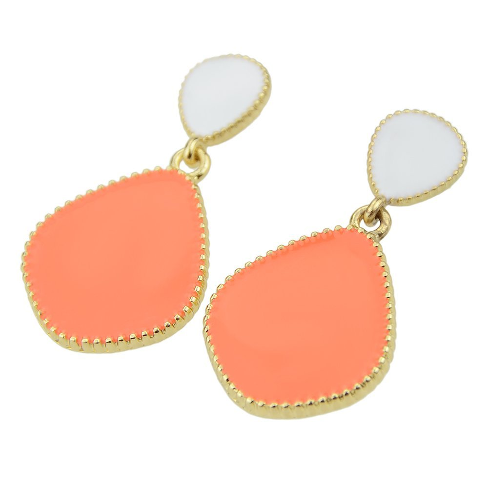 Feelontop@ Candy Enamel Color Alloy Ethic Dangle Earrings Women with Jewelry Pouch ER-5343-BLue