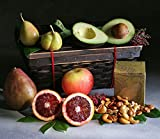 Fruit and Nut Duet: 5 Luscious Seasonal Fruits Beautifully Arranged in a Keepsake Bamboo Basket with 5 ounces of Organic Maple Glazed Nuts | Elegant Giving by Manhattan Fruitier