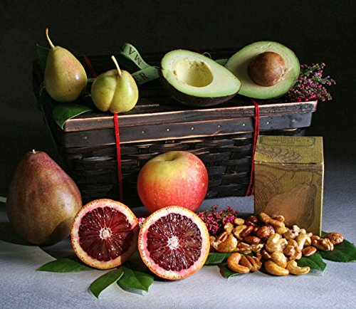 - Fruit and Nut Duet: 5 Luscious Seasonal Fruits Beautifully Arranged in a Keepsake Bamboo Basket with 5 ounces of Organic Maple Glazed Nuts | Elegant Giving by Manhattan Fruitier