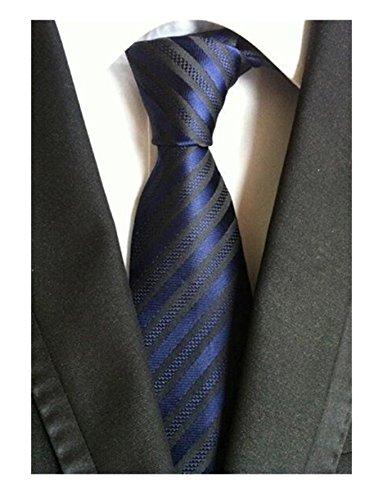 DEITP Men's Classic Navy Blue Stripe Jacquard Woven Silk Tie Formal Party Suit Neckties