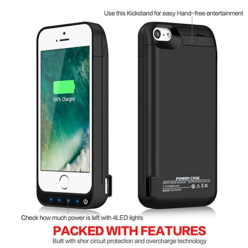 Yellowknife Certified Battery situation iPhone 5C SE 5S 5 4200mAh made in USB potential Bank Protective Charger CaseCapacity Up to 25X Extra Battery LED Indicator light Black 24 Month assurance and computer screen Protector listed Battery Charger Cases
