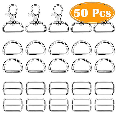 (Paxcoo 50Pcs Keychain Bulk with Key Chain Swivel Hook D Rings and Slide Buckles for Handbag Purse Hardware Craft)