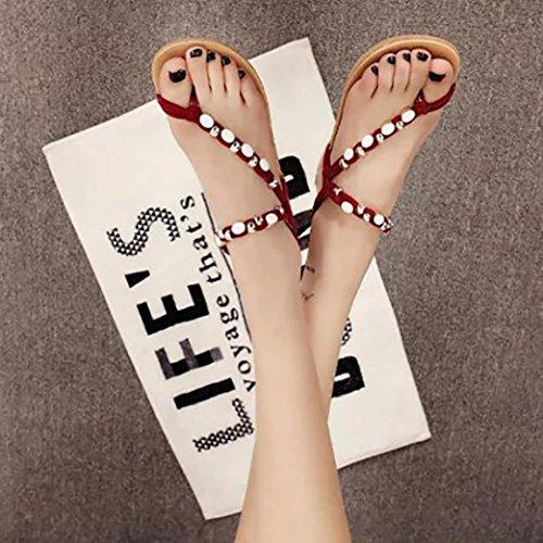 Flops Damen Sandalen Flip für Frauen Flach Rot Schuhe Freizeit feiXIANG Sandalen SnWaYRzFqz