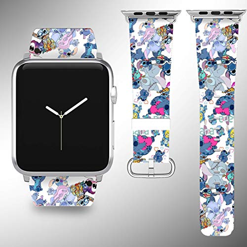 - Wrist band strap compatible with Apple Watch iWatch all series adapters 38mm 40 mm 42mm 44mm series 1 2 3 4 Leather Fabric strap with Stitch desing