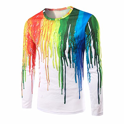 Men Rainbow Graffiti Paint Shirts Long Sleeve Blouses White T-Shirts Crew Neck