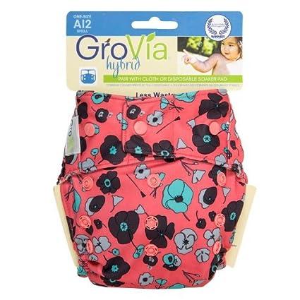 GroVia único pañal Shell - Snap Poppy Color: Poppy