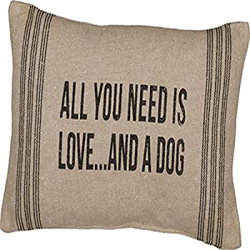 "Primitives By Kathy 15"" X 10"" Accent Throw Pillow - All You Need Is Love and a Dog"