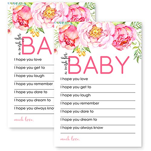 Paper Clever Party Mod Floral Wishes for Baby Shower Game 20 pc. (Newborn Baby Girl Wishes)