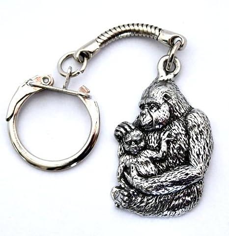 Diseño de gorila y bebé llavero, llavero con muñeca en Fine ...