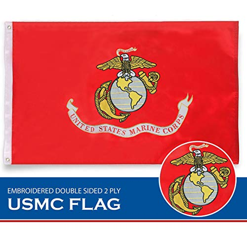 G128 USMC United States Marine Corps Flag 4x6 Ft Double Sided 2 ply Embroidered U. S. Marine Corps Military Flag Brass Grommets ()
