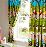 Kids Club Farmyard Animal Fully Lined Pair of Curtains 66 inch x 72 inch 183 cm Bedroom Cow Tractor