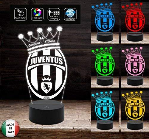 Lampada da tavolo a led 7 colori selezionabili logo JUVENTUS 34° SCUDETTO Juve 2018 Campione d'Italia Idea regalo compleanno gadget