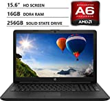 HP 15.6' WLED-Backlit HD Screen Laptop, AMD A6-9225 Dual-Core Processor Up to 3.00GHz, 16GB Memory, 256GB Solid State Drive, HDMI, 802.11b/g/n, Bluetooth 4.2, Windows 10 Home, Black