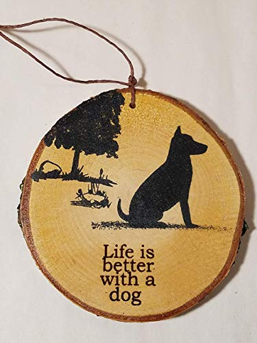 Dog Christmas tree Ornament made from a real birch tree wood slice for a rustic woodland decor. PERSONALIZE IT!
