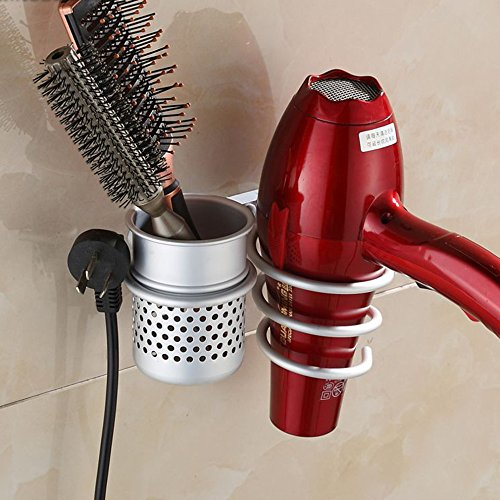 GreenSun(TM) Excellent Quality Aluminum Wall Mounted Hair Dryer Drier Comb Holder Rack Stand Set Storage Organizer Popular Brand New Hot Sale