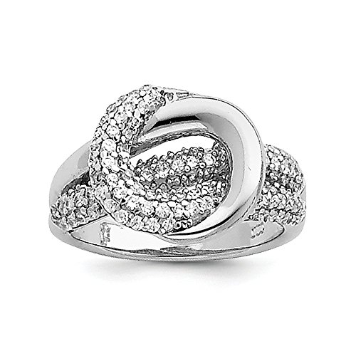 (925 Sterling Silver Cubic Zirconia Cz Center Knot Band Ring Size 7.00 Fine Jewelry Gifts For Women For Her)