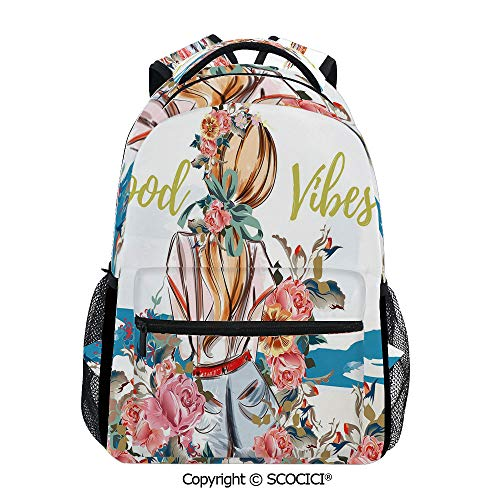 SCOCICI Laptop Backpack Young Girl Standing Back with,for High School or College