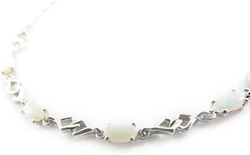 Les Trésors De Lily [H7474] - Pulsera plata 'Déesse Opale' de color blanco.