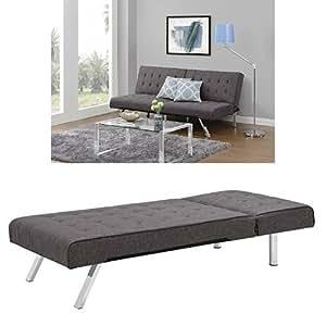 Amazoncom dhp emily sectional sofa sleeper grey for Gray sectional sofa amazon
