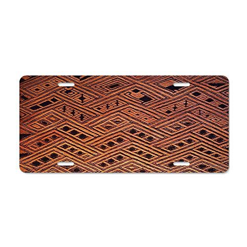 (Blingreddiamond Raffia Kuba Pattern 4 License Plate Cover Stylish Design Cover Car Auto Tag Metal Plate 6x12Inch)