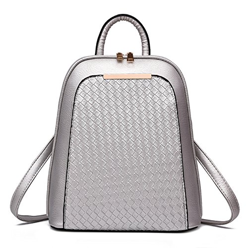 Leather Bag Purse Backpack Style Women's Outdoors Bag Faux School Simple Silver SILI Casual Girls Travel For wEqSFY8xx