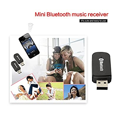(Smart $ Portable) MINI USB Bluetooth 3.5mm Stereo Audio Music Receiver & Adapter for Home Stereo , Portable Speakers , Headphones , Car (AUX In) Music Sound Systems , & More 3.5mm Media Devices