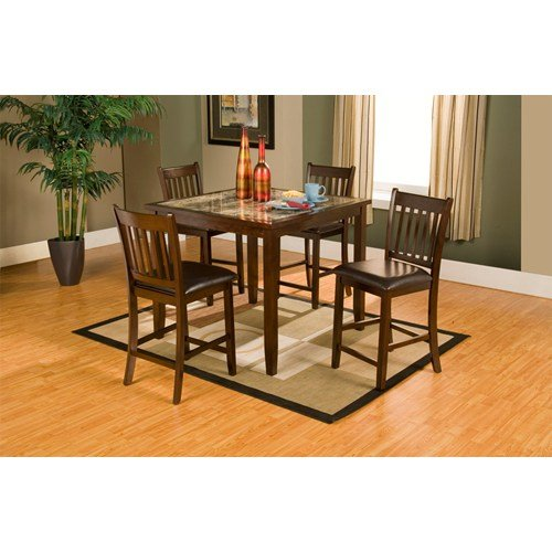 Alpine Furniture Capitola Faux Marble 5-Piece Small Counter Height Pub Set - Espresso