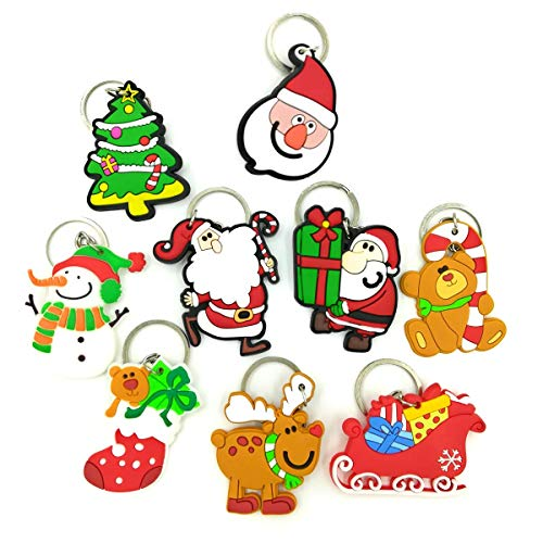 OHill 30 Pack Christmas Themed Keychains Novelty Toys for Christmas Gifts Christmas Party Favors