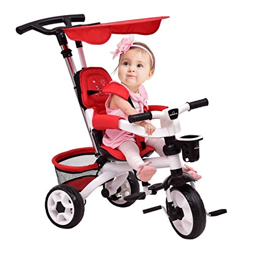 MD Group Baby Stroller 4-in-1 Detachable Red Tricycle with Flat Canopy & Basket by MD Group