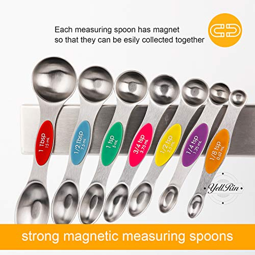 Magnetic Measuring Spoons Set of 8 Stainless Steel Stackable Dual Sided Teaspoon Tablespoon for Measuring Dry and Liquid Ingredients