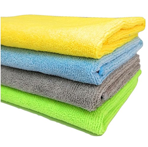 SOBBY Microfiber Cloths, 4pcs – 40 cm x 40cm – 340 GSM Multi Color – Highly Absorbent, Lint and Streak Free, All Purpose…