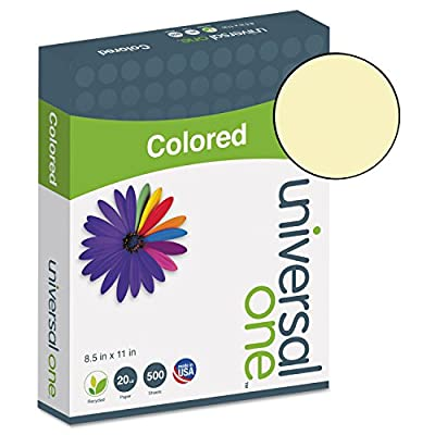 Universal 11201 Colored Paper, 20lb, 8-1/2 x 11, Canary, 500 Sheets/Ream
