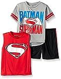 Warner Brothers Little Boys' Toddler Batman Vs Superman 3 Piece Short Set, Grey, 2T