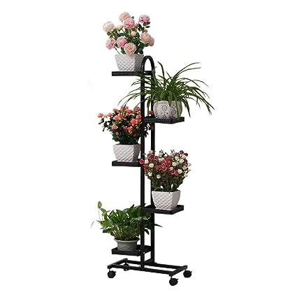 Amazon.com: 5 niveles de metal maceta soporte de planta con ...