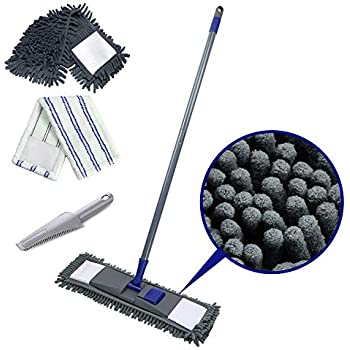 Flat Mop with 2 Mop Refills Chenille Magic Dust Cleaning Mop for Wet Dry Use Send Scraping Dust Tool Masthome