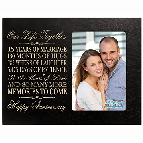 Fifteen year anniversary gift her him couple Engraved 15th year wedding celebration for husband wife girlfriend boyfriend frame holds 4x6 photo by DaySpring International (Black)