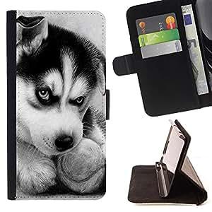 Devil Case- Estilo PU billetera de cuero del soporte del tirš®n [solapa de cierre] Cubierta FOR Samsung Galaxy G360 G3608 G3606- Huskies Husky Dog Paws Cute